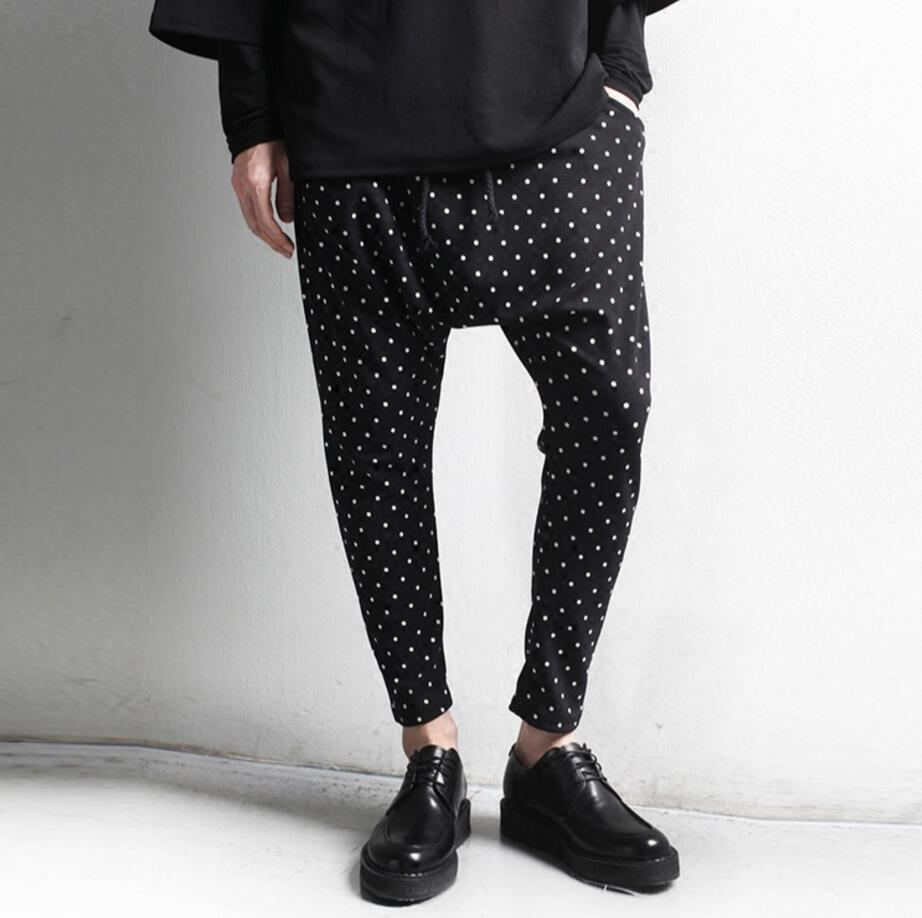 27-46 2017 New men's clothing fashion DJ dot big crotch pants harem pants male plus size trousers Singer costumes
