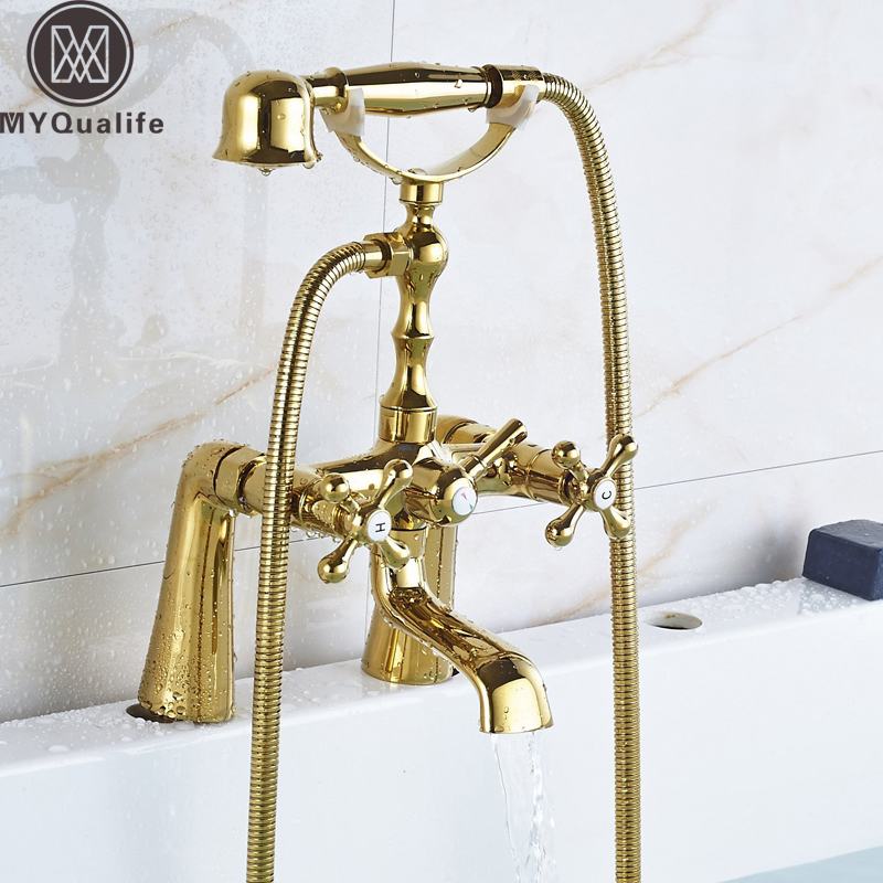 Telephone Style Deck Mounted Bathroom Tub Mixer Taps Dual Handle with Hand Shower Dual Holes Bathtub Faucet Crane