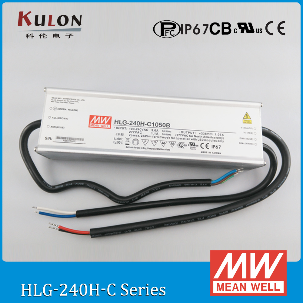 Original Meanwell HLG-240H-C1050B constant current LED driver 1050mA 240W dimming high power supply PFC IP67 40w led driver dc140 150v 0 3a high power led driver for flood light street light constant current drive power supply ip65