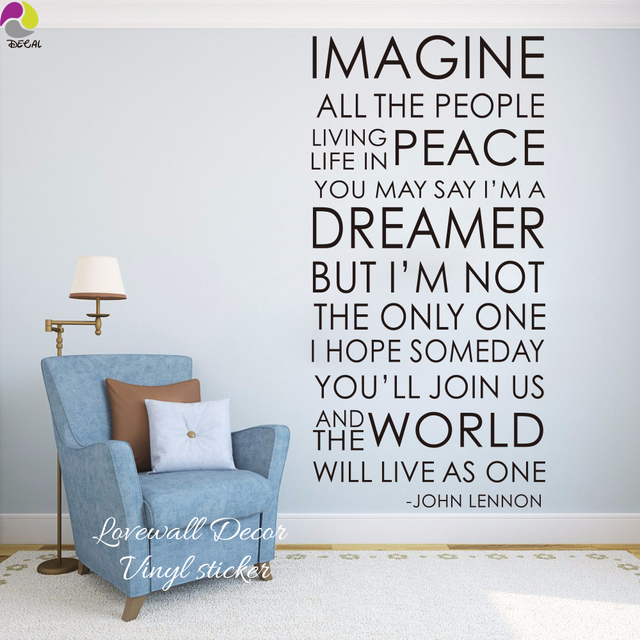 The Beatles IMAGINE Song Lyrics Wall Sticker Bedroom Room John Lennon  Inspiration Song Lyrics Wall Decal
