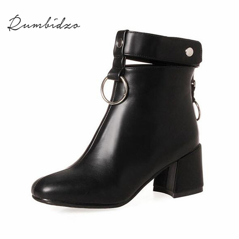 Rumbidzo Women Boots 2018 Round Toe Woman Ankle Boots Thick Heel Zipper Metal Decoration Winter Bootie Women Botas new arrival superstar genuine leather chelsea boots women round toe solid thick heel runway model nude zipper mid calf boots l63