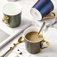 1 piece Nordic bone china mug hand painted Phnom Penh coffee milk cup breakfast cup ceramic couple cup with spoon gift box