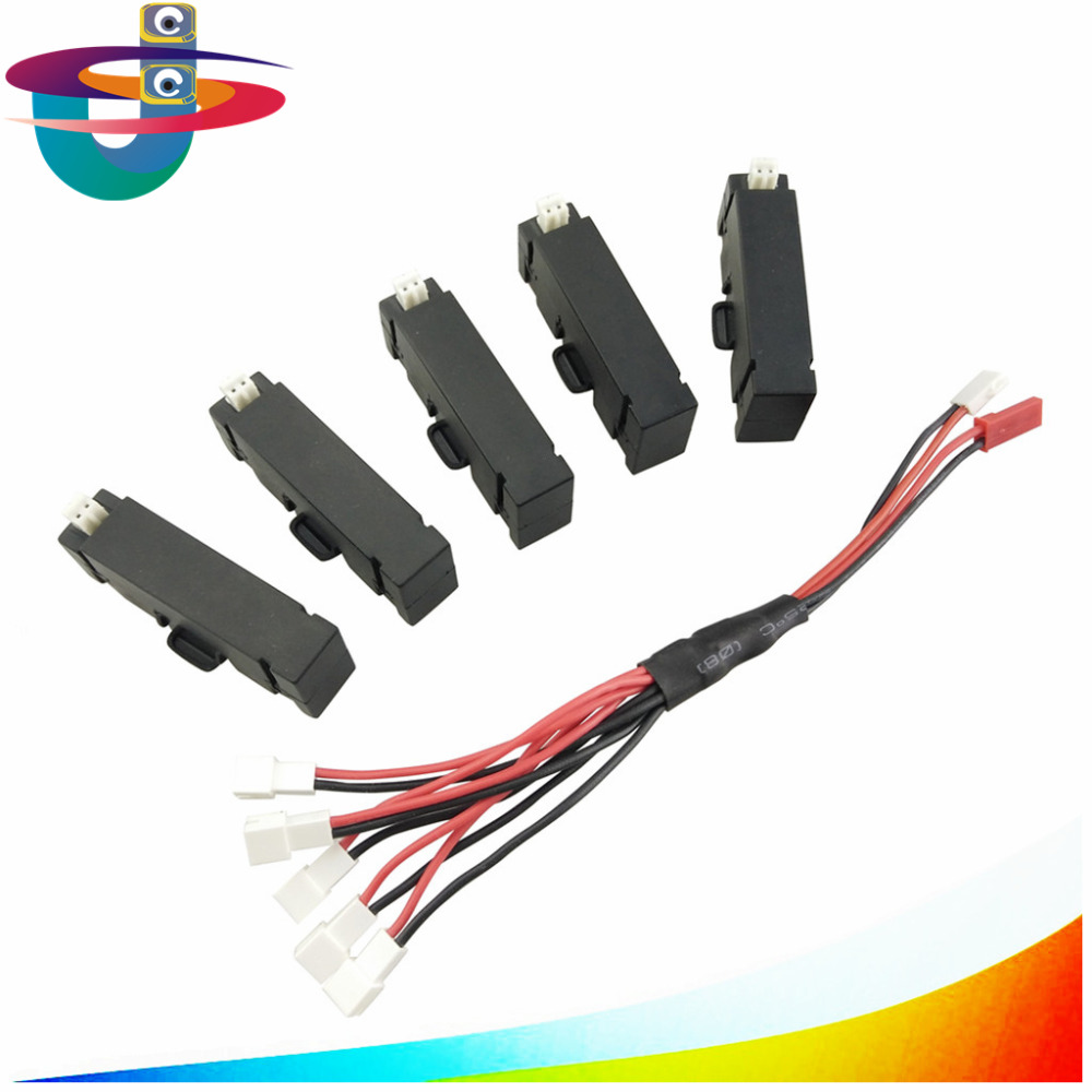 5PCS 3.7v 400mah lithium battery + 1 care 5 charge conversion line For H37 mini helicopter spare parts UAV H37mini battery