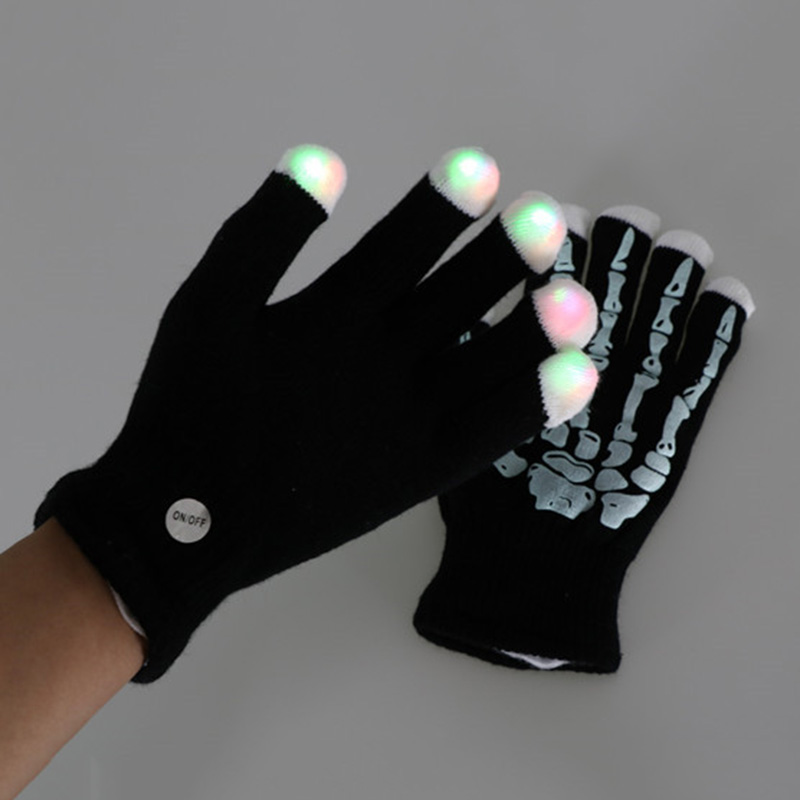 200pcs/lot Christmas Party Gift Skinny LED gloves flash luminous cheer concert props bar entertainment gloves Night Gloves