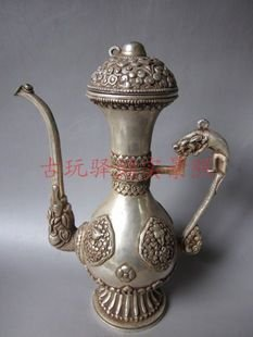 Collectable Qing Dynasty Silver teapot\Flagon,carved 12 animals,Decoration,free shippingCollectable Qing Dynasty Silver teapot\Flagon,carved 12 animals,Decoration,free shipping
