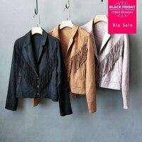Fashion brand faux suede velvet single breasted suede jacket female street style tassel stitching warm leather jacket coat wq431