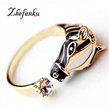 Hot Women Personality Punk Ring Zebra Horse Head  Adjustable Opening Finger Ring Gift