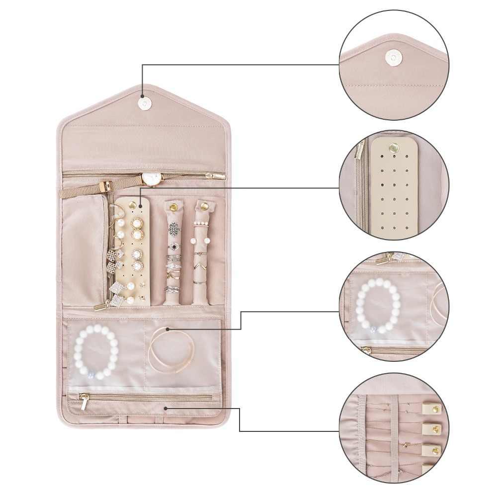 Bagsmart Vrouwen Reizen Sieraden Organisatoren Opvouwbare Sieraden Rolls Voor Ketting, Armband, Oorbel, Ring Reizen Accessoires Bag