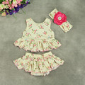 Shabby Chic 3pcs Floral Baby Girls Clothing Set Sleeveless Top Around Ruffle Bloomer Baby Clothes Matching  Headband Newborn