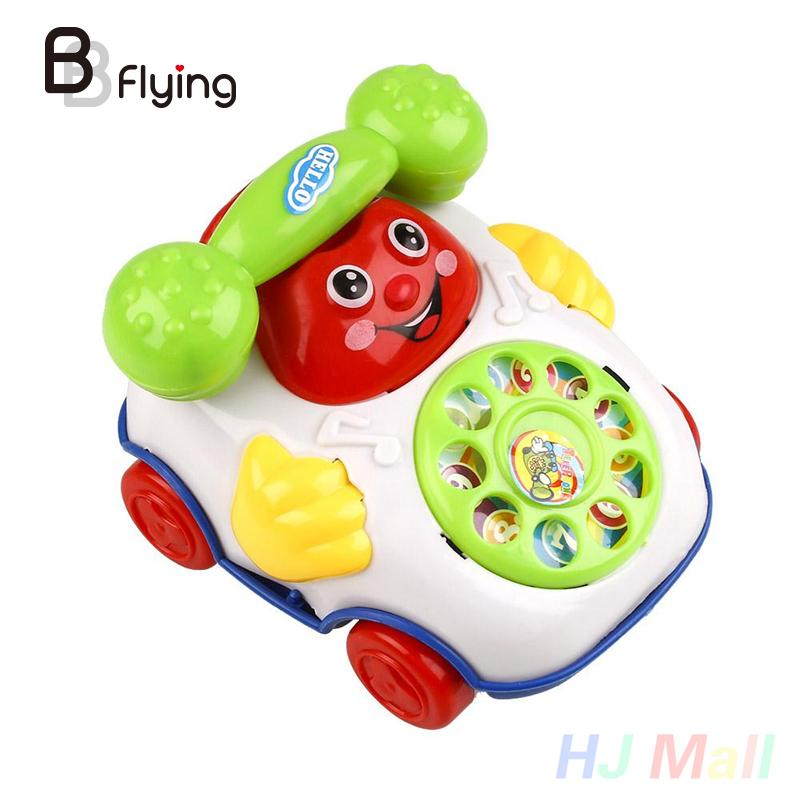 Smiling Face Cartoon Mobile Phone Toys for Baby Kids Children Wired Musical Toys Phone Educational Toys Birthday Gift