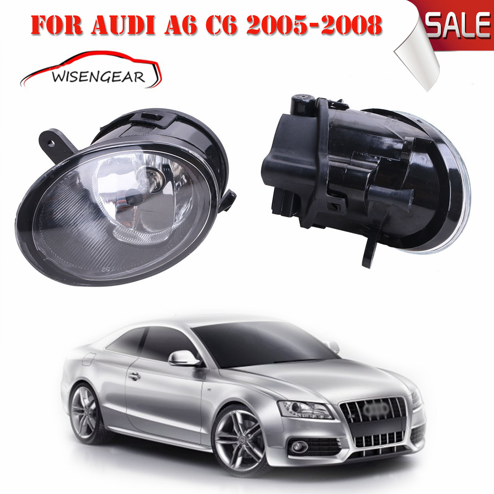 Car Light Left & Right Front Fog Driving Light Fog Lamps with H7 Bulbs For AUDI A6 C6 2005 2006 2007 2008 C/5 free shipping for vw polo 2005 2006 2007 2008 new front left side halogen fog light fog light with bulb