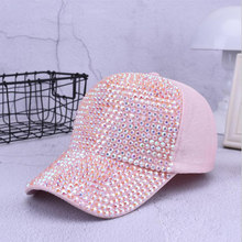 086dda16fd246 Fashion Women Rhinestone Hats Female Baseball Cap Bling Diamond hat  Personality Girl Snapback Cap Gorras(