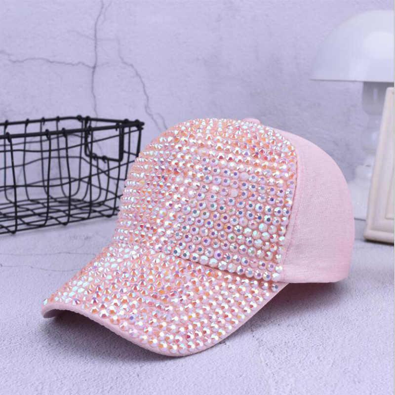 5b69ba1191a Fashion Women Rhinestone Hats Female Baseball Cap Bling Diamond hat  Personality Girl Snapback Cap Gorras
