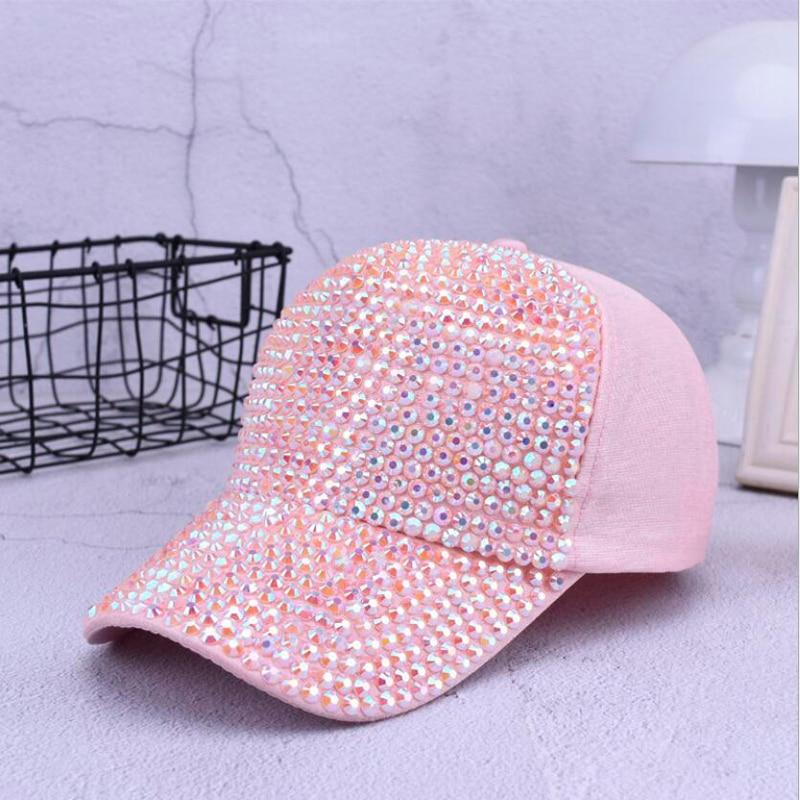 7f5b0dd787 Mulheres da moda Strass Chapéus Feminino chapéu Personalidade Menina Cap  Snapback Gorras Boné de beisebol Bling Diamante