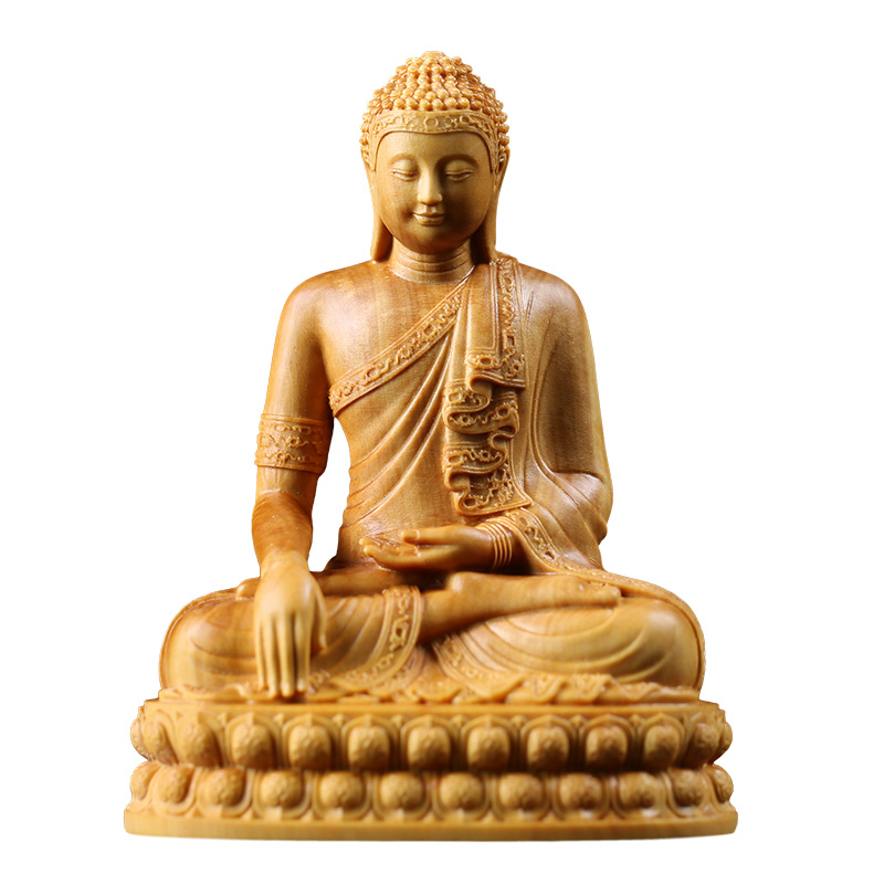 Thai religious temple buddha statue wooden sculpture Buxus sinica buda boxwood wood statues for decoration