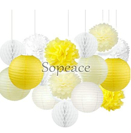 16 white yellow ivory tissue paper pom poms flowers paper lanterns 16 white yellow ivory tissue paper pom poms flowers paper lanterns and polka dot paper garland for wedding party decorations in artificial dried flowers mightylinksfo