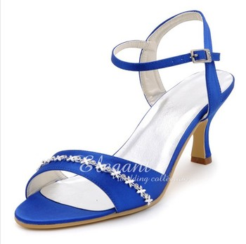 Elegant Summer Sandals Lady High Heel Fashion Shoes Blue Banquet Shoes Satin Rhinestone Wedding Bridal Dress Shoes