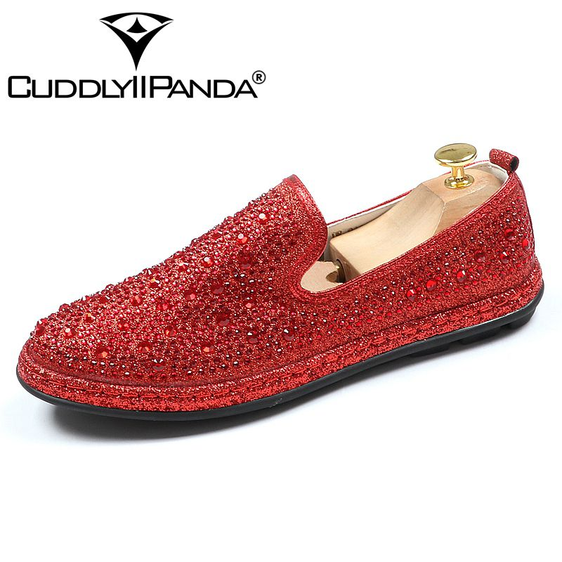 ecb6e0a57a36 Marque on rouge 2018 Luxe Strass Slip Partie Mariage Sneakers Chaussures  Mode Cristal Velours Et Or ...