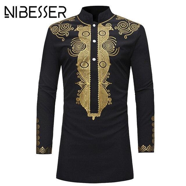Nibesser Men Dashiki Dress Shirt Summer African Clothing Man Fashion