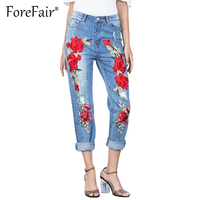 Forefair Fashion Stretch Embroidered Hole Ripped Jeans Women Pants Cool Denim Vintage Jeans For Girl Mid