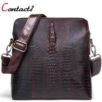 CONTACT S Genuine Leather Bags Men Shoulder Bag High Quality Handmade Alligator Pattern Men Messenger Bag