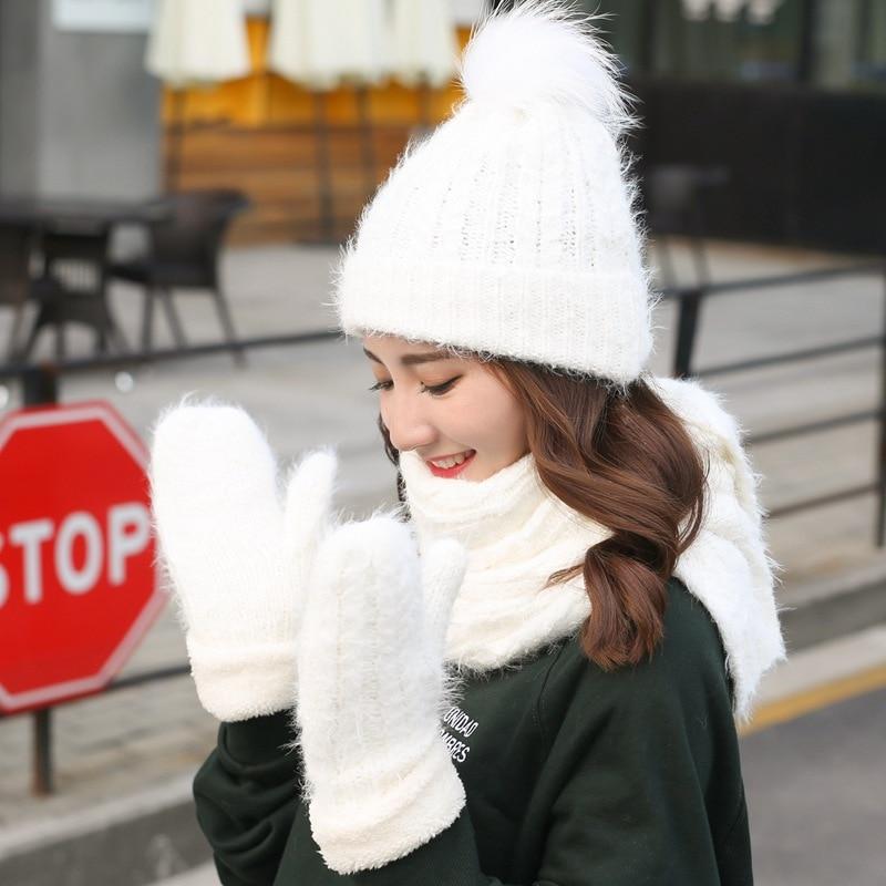 Knitted Wool Winter Hat Scarf Gloves Set Women Thicken Warm Hat Glove Fur Ball Beanies Hat Soft Scarf For Girls Gift