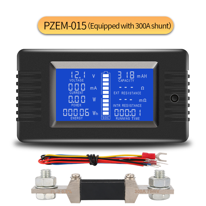 PZEM-015 0-200v 0-300A Car Battery Discharge Indicator Capacity Tester Power Energy Impedance Resistance voltmeter 300A shunt