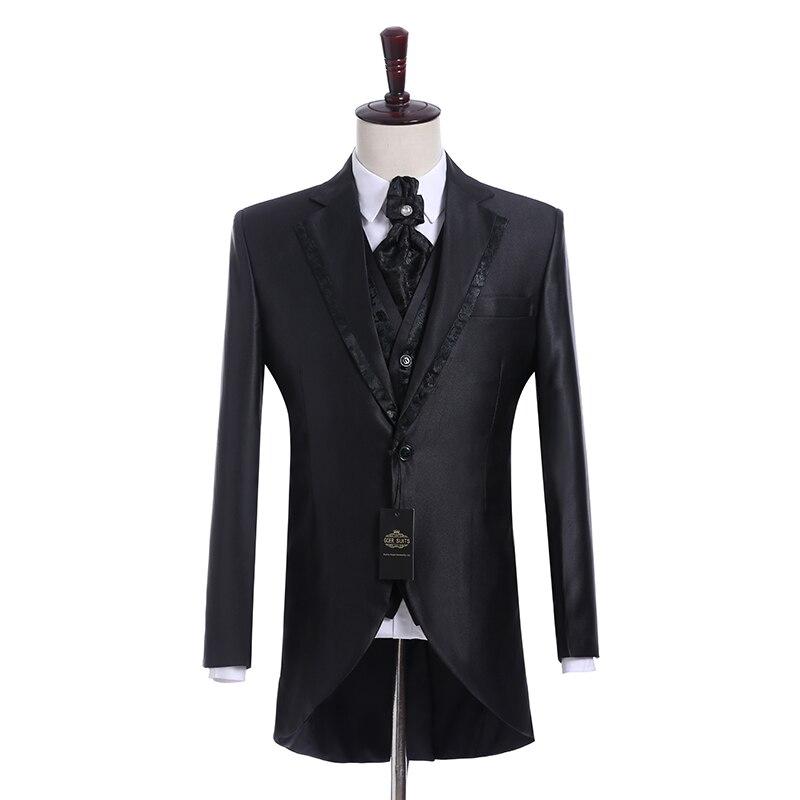 Custom Made Groomsmen Notch Lapel Groom Tuxedos Shiny Black Men Suits Wedding Best Man Blazer ( Jacket+Pants+Tie+Vest ) C155