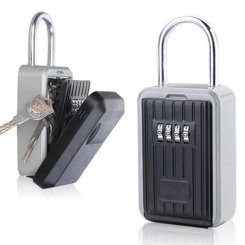 Key Lock Box, Key Storage Lock Box Aluminium Alloy Key Safe Box Weatherproof 4 Digit Combination for Indoors and Outdoors