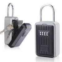Caja de Seguridad para llaves  caja de seguridad para llaves de aleación de aluminio caja de seguridad resistente a la intemperie combinación de 4 dígitos para interiores y exteriores|Cajas fuertes| |  -