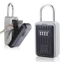 Caja de Seguridad para llaves, caja de seguridad para llaves de aleación de aluminio caja de seguridad resistente a la intemperie combinación de 4 dígitos para interiores y exteriores