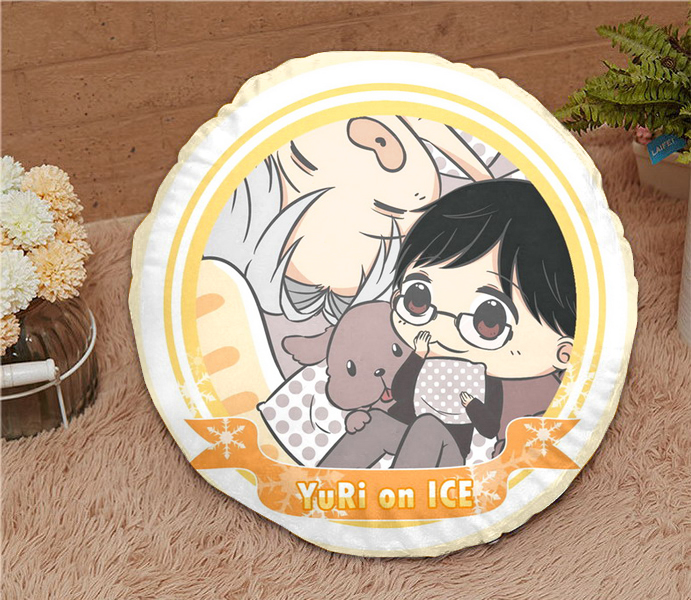 Oct. New Home Textile Yuri On Ice Anime Victor & Katsuki 15.7 Inches Micro-suede Fabric Round Soft Pillow Hot Sale Gift #41187