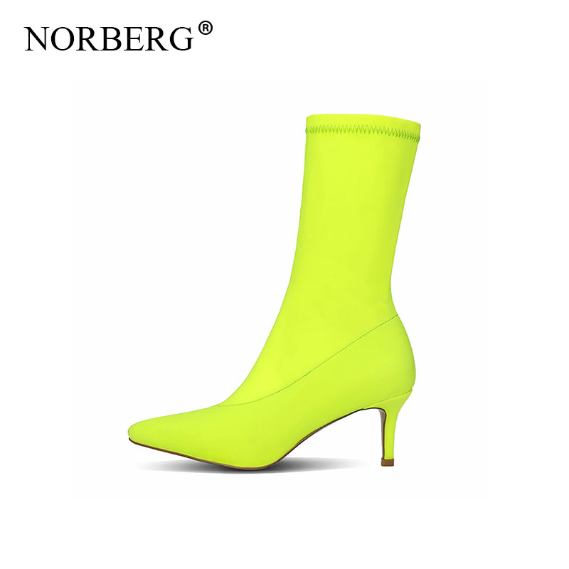 new fashion Ankle Boots Thin Heel High Heels Elastic Ankle Boots Pointy Toe Women Shoes Sexy Party LadiesComfort Boots pumps in Ankle Boots from Shoes