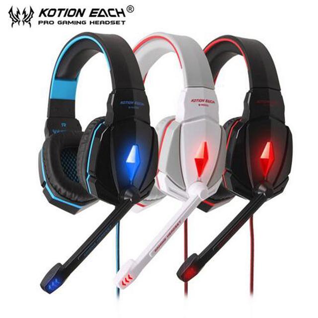 Kotion each g4000 pro gaming headset auriculares micrófono led light surround estéreo diadema para ordenador pc