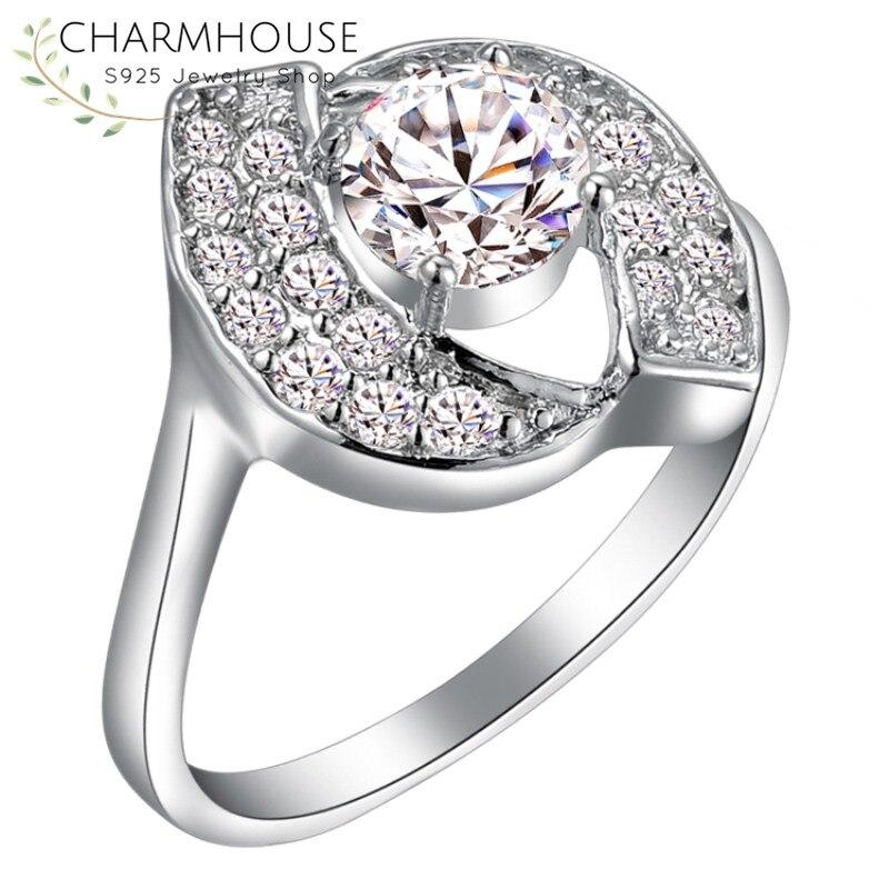 Свадебные Кристалл Кольца для Для женщин обещание Обручение кольцо с фианитом моде Jewelry подарки для девушки Bague Femme