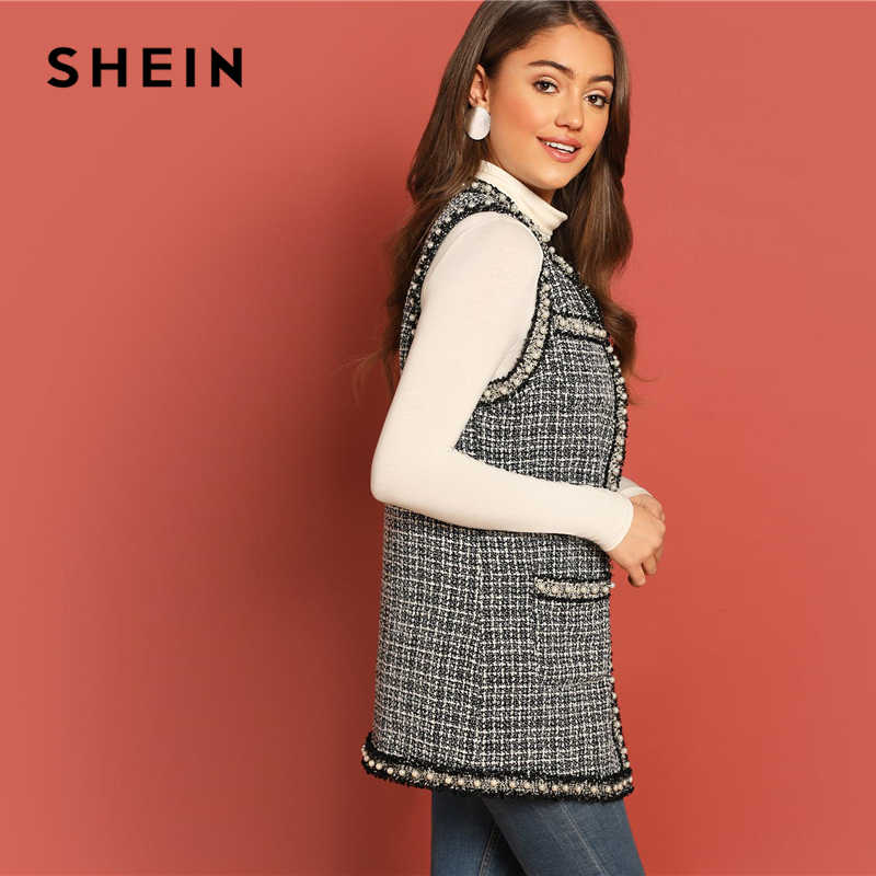 39fde4b1a1 ... SHEIN Black and White Pearl Beaded Frayed Trim Open Stitch Tweed Shell  Vest Sleeveless Coat Women ...