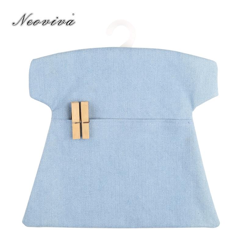 Neoviva Durable Denim Peg Bag for Laundry Room, Pack of 2, Solid Skyway Blue