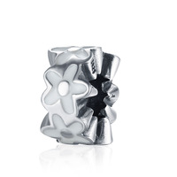 White Enamel Cherry Blossoms Spacer Charm Fits Pandora DIY Bracelets Anthentic 925 Silver Beads For Jewelry