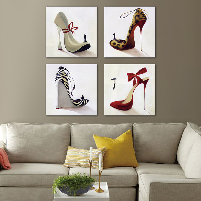 Canvas painting wall art picture print fashion dress high heels perfume clothes shop shoe store wall