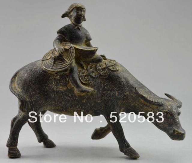 Collectible Decorated Old Handwork Bronze Carving Cowherd Boy On Cattle Statue