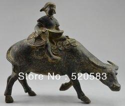 Collectible Ingerichte Oude Handwerk Brons Carving Herder Jongen Op Vee Standbeeld