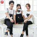 2016 Summer Heart Pattern White T shirt Family Matching Outfits Family Look t shirts Dad & Mom & Son & Daughter clothes