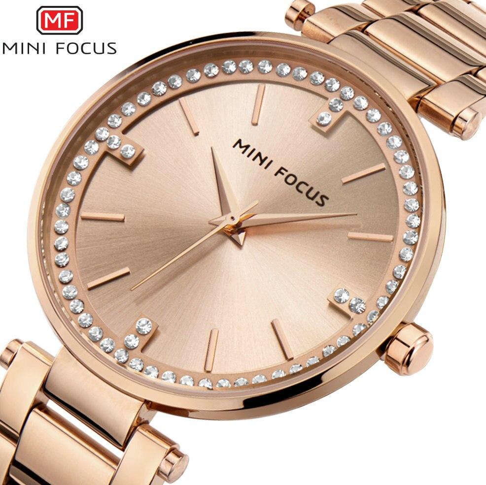 MINIFOCUS 2018 Women Watches Top Brand Luxury Quartz Clock Rose Golden Stainless Steel Strap Crystal Elegant Ladies Wrist Watch in Women 39 s Watches from Watches