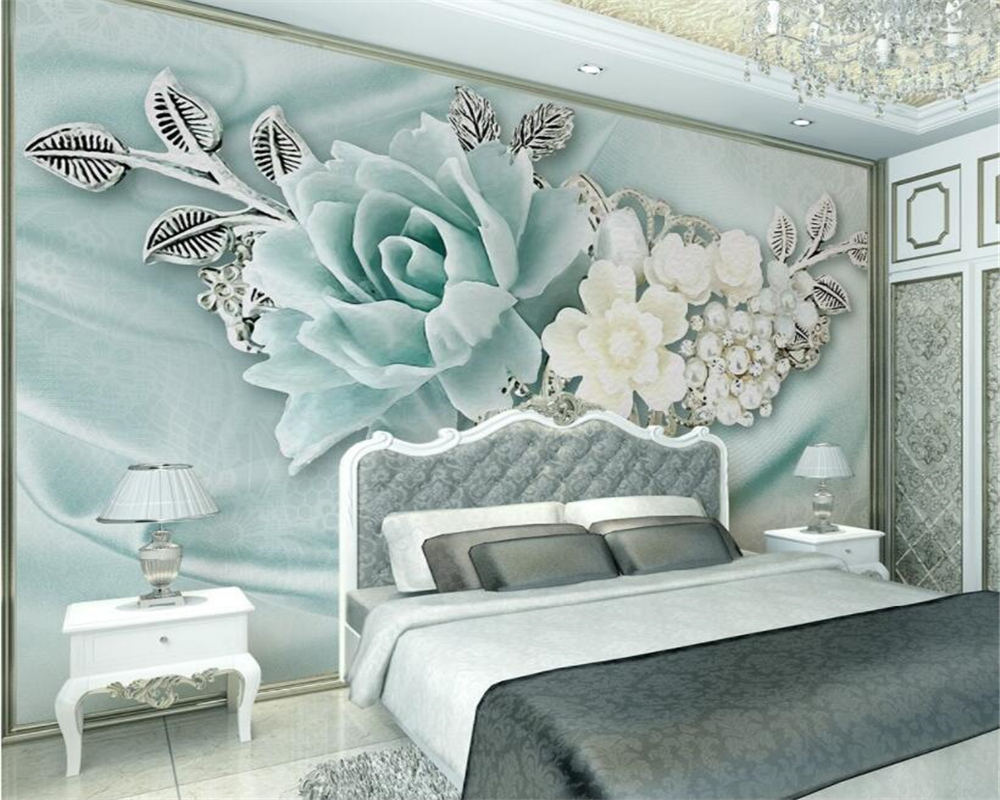 Beibehang Benutzerdefinierte Große 3d Tapete Mint Grün Schmuck Perle öl Malerei Blume Tv Hintergrund Wand 3d Tapete Papel De Parede Papel De Parede De Parede3d Wallpaper Aliexpress