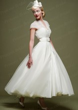 Free Shipping Simple Ball Gown V-Neck Ankle Length Organza Ivory Wedding Dress With Sash MD143
