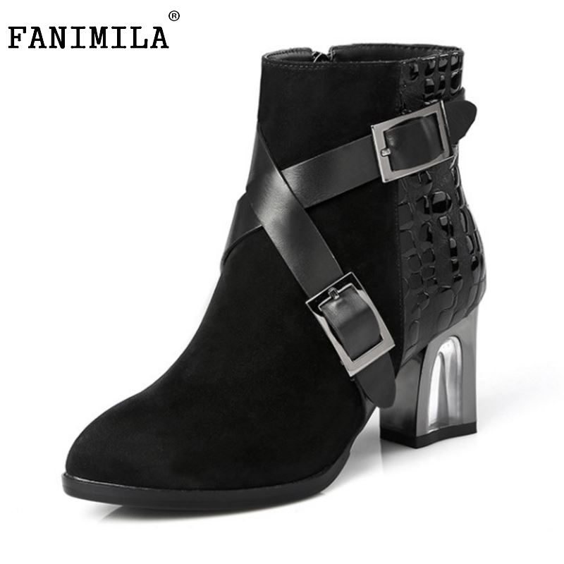 New Design Women Genuine Leather Pointed Toe Ankle Boots Woman Thick Heel Botas buckle Zipper Heeled Shoes Size 31-45