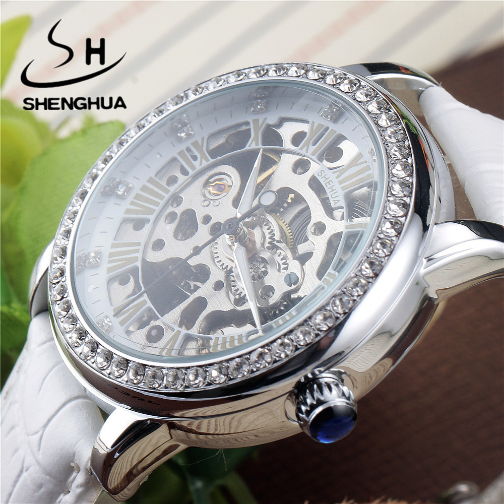 Skeleton Sapphire Crystal Women Mechanical Watch Luxury Brand SHENHUA Women Automatic Mechanical Watch Women Diamond Dress Watch luxury brand shenhua steampunk transparent skeleton crystal flywheel automatic genuine leather strap dress mens mechanical watch