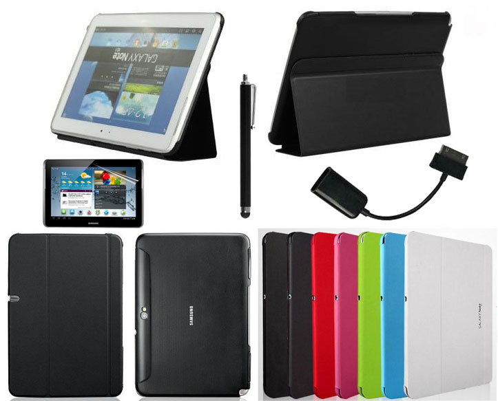 4in1 For Samsung Galaxy Note  10.1 N8000 N8010 Smart Cover  leather case Stand + Screen Protector + OTG Cable + Stylus pu leather cover case for samsung galaxy note 10 1 n8000 n8010 n8020 tablet model gt n8000 screen protector pen