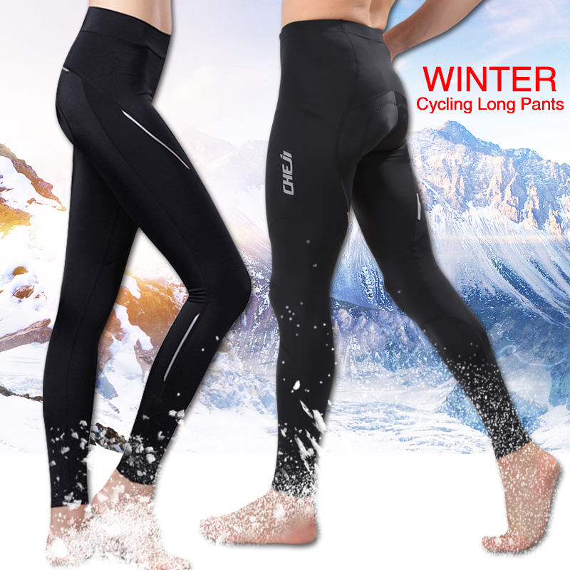 Cheji Winter Thermal Fleece Biking Lengthy Pants Males And Ladies Padded Heat Mtb Highway Bike Tights Black Biking Sportswear Trousers