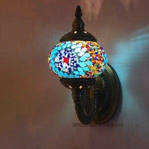 Image 2 - חדש הים התיכון סגנון אמנות דקו תורכי פסיפס מנורת קיר בעבודת יד פסיפס זכוכית רומנטי קיר אור